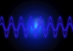 Radio wave - frequency. Blue wave on a black background