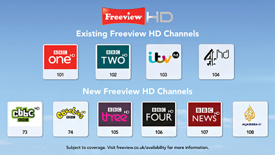 New and existing Freeview HD channels - 2013