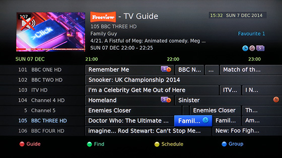 Humax HDR-FOX T2 Electronic Programme Guide (EPG) - Freeview TV Guide