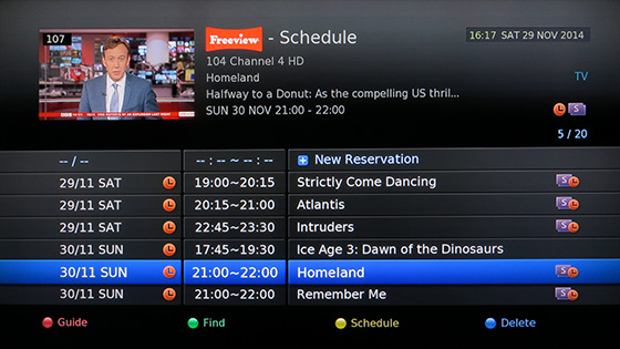 Humax HDR-FOX T2 schedule list