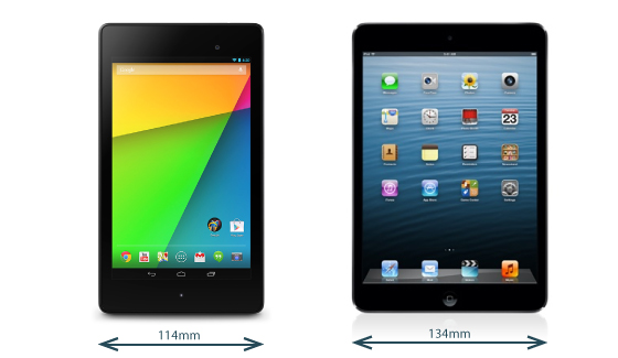 The Nexus 7 2013 vs. The iPad mini width comparison