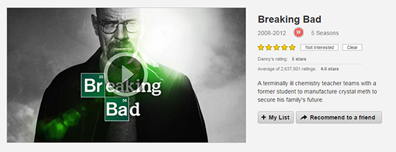 Breaking Bad on Netflix showing the review summary and synopsis