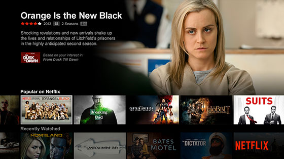 Netflix menu showing Orange is the New Black